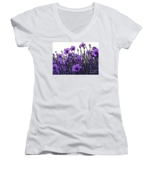 Women's V-Neck T-Shirt (Junior Cut) featuring the photograph Purple Flowers Dance by Jasna Gopic