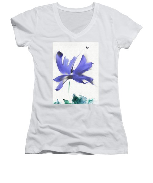 Women's V-Neck T-Shirt (Junior Cut) featuring the mixed media Purple Iris In The Greenery by Frank Bright