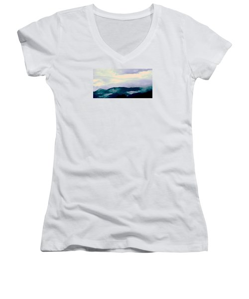 Purple Mountains Majesty Blue Ridge Mountains Women's V-Neck T-Shirt (Junior Cut) by Kathy Barney