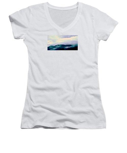 Purple Mountains Majesty Blue Ridge Mountains Women's V-Neck T-Shirt