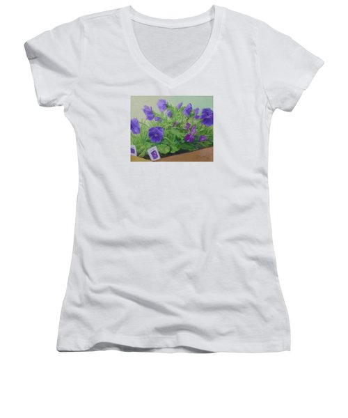 Purple Pansies Colorful Original Oil Painting Flower Garden Art  Women's V-Neck T-Shirt