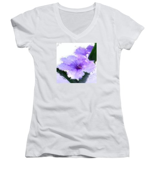 Purple Petunia Women's V-Neck T-Shirt (Junior Cut) by Anthony Fishburne