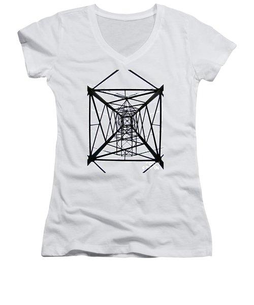Women's V-Neck T-Shirt (Junior Cut) featuring the photograph Pylon by Nina Ficur Feenan
