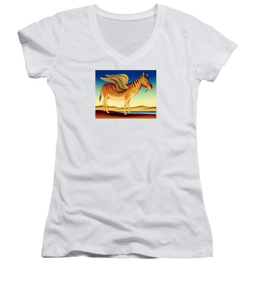 Quagga Women's V-Neck T-Shirt (Junior Cut) by Frances Broomfield