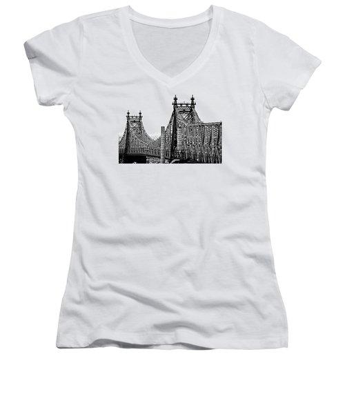 Queensborough Or 59th Street Bridge Women's V-Neck T-Shirt (Junior Cut) by Steve Archbold