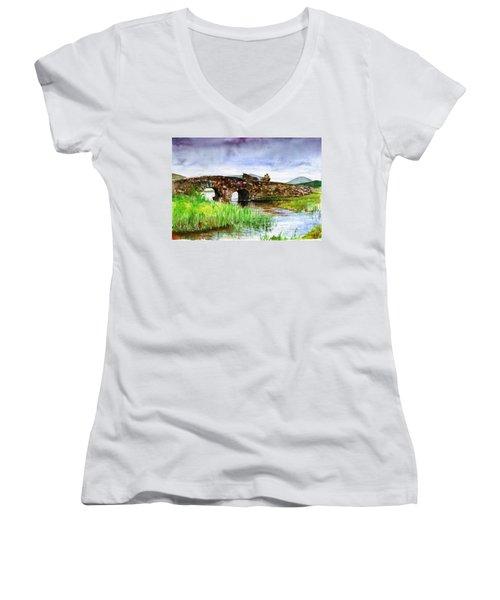 Quiet Man Bridge Ireland Women's V-Neck T-Shirt (Junior Cut) by John D Benson