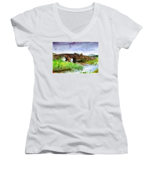 Quiet Man Bridge Ireland Women's V-Neck T-Shirt (Junior Cut)