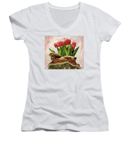 Rabbit And Pink Tulips Women's V-Neck T-Shirt (Junior Cut) by Janette Boyd