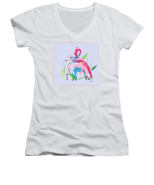 Women's V-Neck T-Shirt (Junior Cut) featuring the painting Rabbit - Bunny In Color by Go Van Kampen