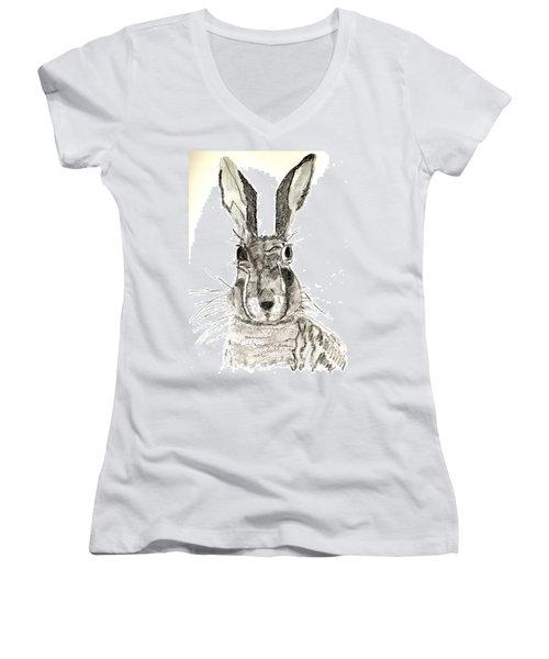 Rabbit Women's V-Neck T-Shirt (Junior Cut) by Sandy McIntire