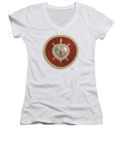 Silver And Gold Heart Turtle Women's V-Neck