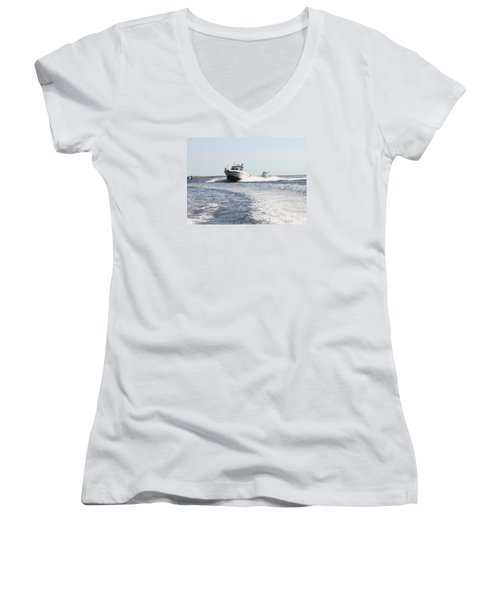 Racing To The Docks Women's V-Neck (Athletic Fit)