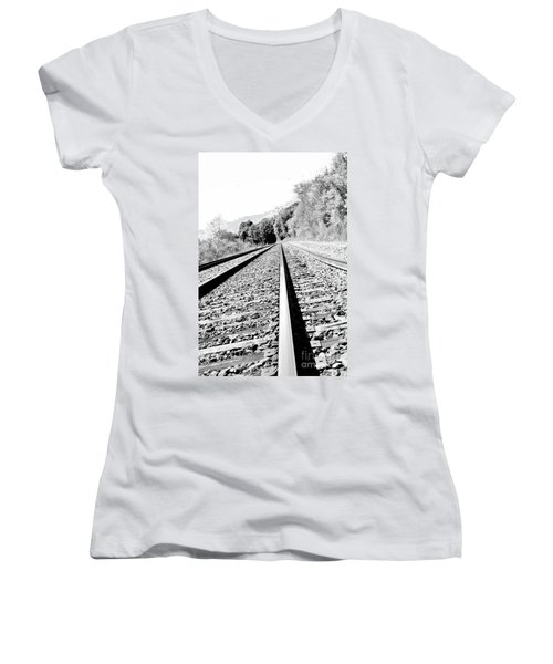 Women's V-Neck T-Shirt (Junior Cut) featuring the photograph Railroad Track by Joe  Ng