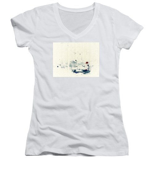 Rain Women's V-Neck T-Shirt (Junior Cut) by Jacqueline McReynolds
