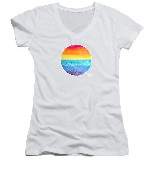 Women's V-Neck T-Shirt (Junior Cut) featuring the painting Rainbow Landscape  by Susan  Dimitrakopoulos