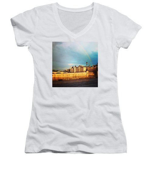 Rainbow Over The Seine. Women's V-Neck T-Shirt (Junior Cut) by Allan Piper