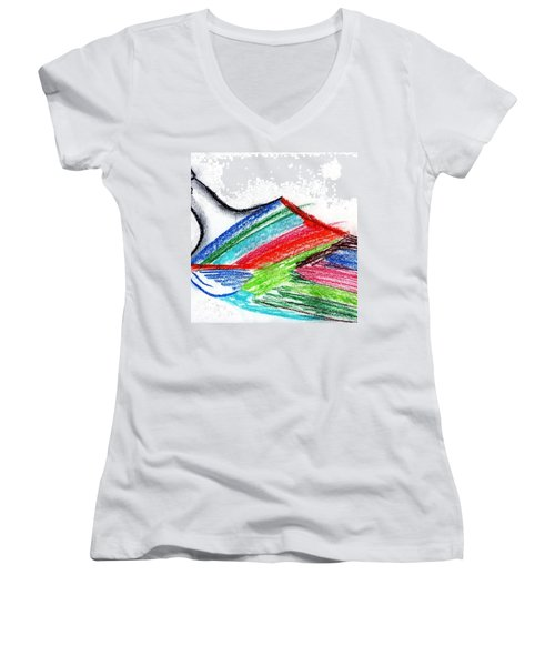 Rainbow Paintbrush Women's V-Neck T-Shirt (Junior Cut) by Dan Twyman