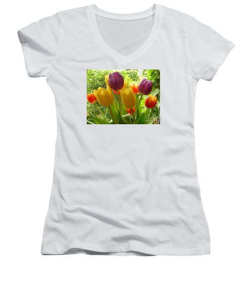Rainbow Tulips  Women's V-Neck (Athletic Fit)