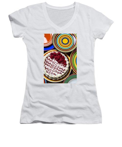 Raspberry Cake Women's V-Neck T-Shirt (Junior Cut) by Garry Gay