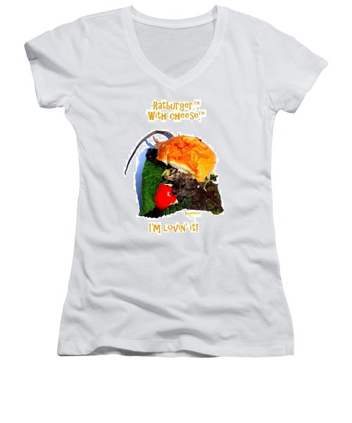 Ratburger With Cheese Women's V-Neck T-Shirt