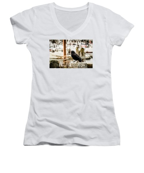 Women's V-Neck featuring the photograph Raven Ucluelet  by Roxy Hurtubise