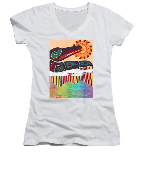 Raven Swallows The Sun Women's V-Neck T-Shirt