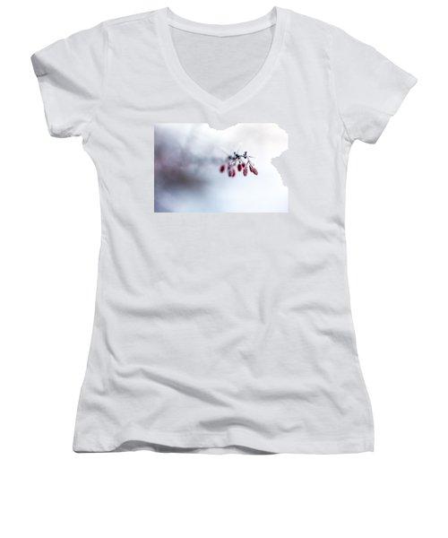 Reaching Out Women's V-Neck T-Shirt (Junior Cut) by Aaron Aldrich
