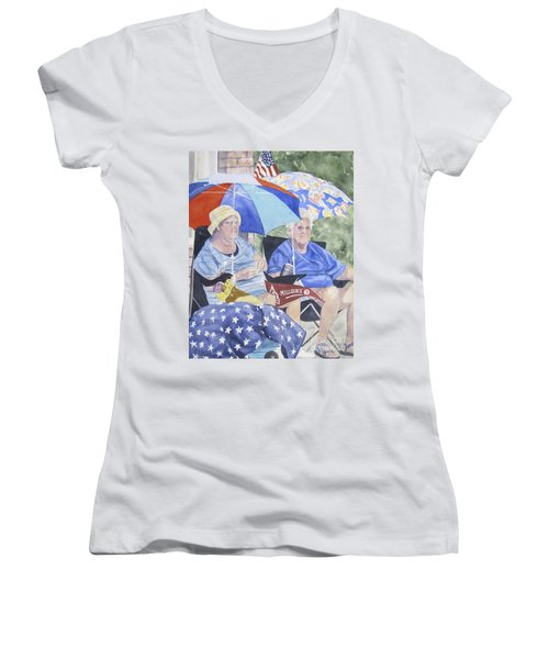 Ready For The Millbury Parade Women's V-Neck T-Shirt (Junior Cut)