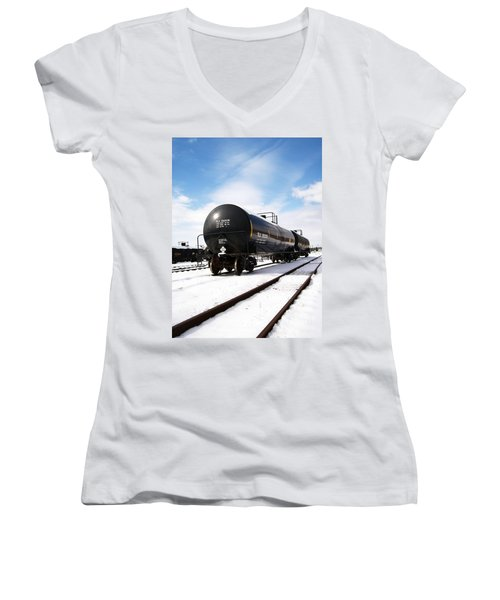 Women's V-Neck T-Shirt (Junior Cut) featuring the photograph Ready To Go by Sara  Raber