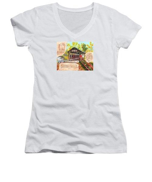 Women's V-Neck T-Shirt (Junior Cut) featuring the painting Rebuild The Bridge by LeAnne Sowa