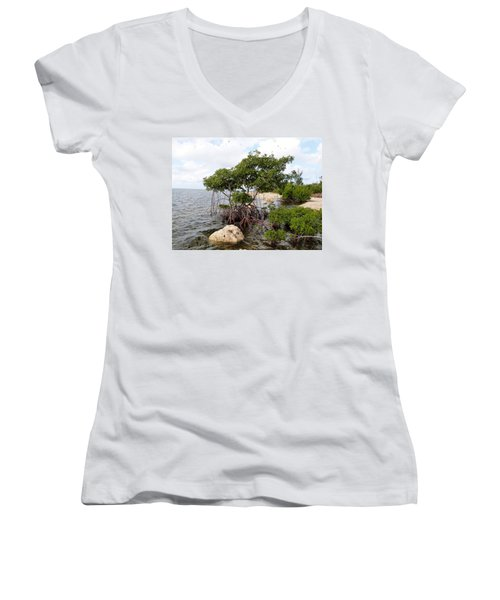 Women's V-Neck T-Shirt (Junior Cut) featuring the photograph Reclamation 9 by Amar Sheow