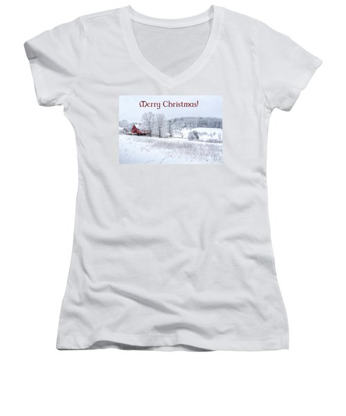 Red Barn Christmas Card Women's V-Neck T-Shirt