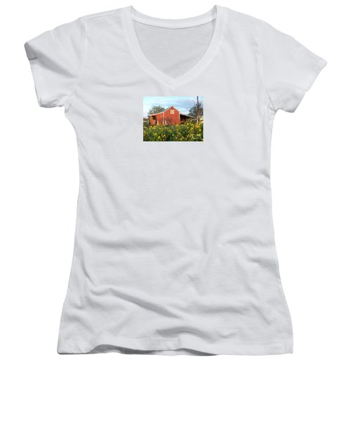 Red Barn With Wild Sunflowers Women's V-Neck T-Shirt (Junior Cut) by Susan Williams