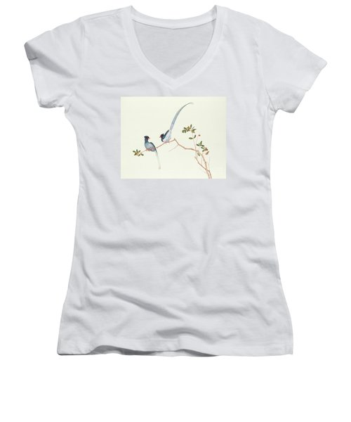 Red Billed Blue Magpies On A Branch With Red Berries Women's V-Neck T-Shirt