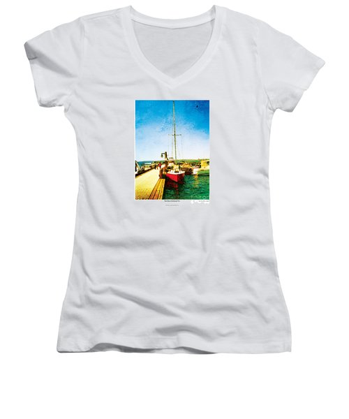 Women's V-Neck T-Shirt (Junior Cut) featuring the photograph Red Boat by Kenneth De Tore