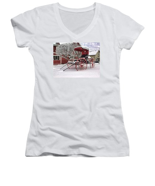 Red Buggy At Olmsted Falls - 1 Women's V-Neck