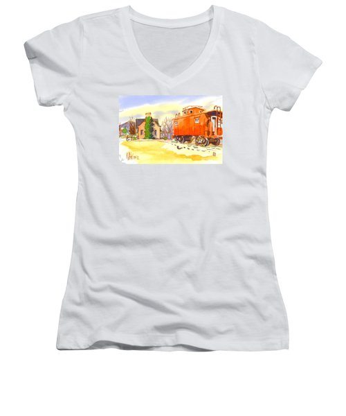 Red Caboose At Whistle Junction Ironton Missouri Women's V-Neck T-Shirt (Junior Cut) by Kip DeVore