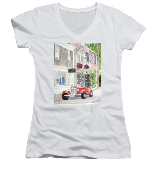 Red Car Women's V-Neck T-Shirt (Junior Cut)