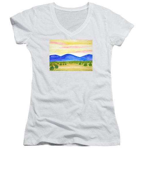 Red Clouds Over Mountains Women's V-Neck T-Shirt