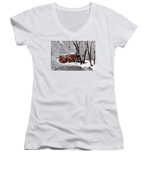 Red Covered Bridge Winter 2013 Women's V-Neck (Athletic Fit)