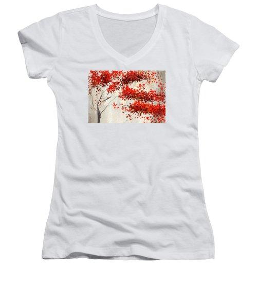 Red Divine- Autumn Impressionist Women's V-Neck
