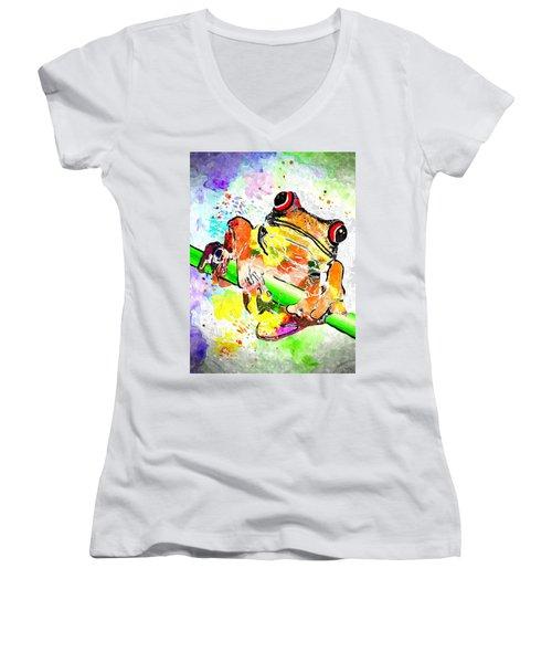Red Eyed Tree Frog Grunge Women's V-Neck T-Shirt (Junior Cut)