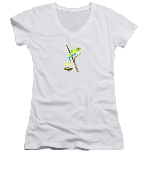 Red-eyed Treefrog From La Selva Women's V-Neck T-Shirt