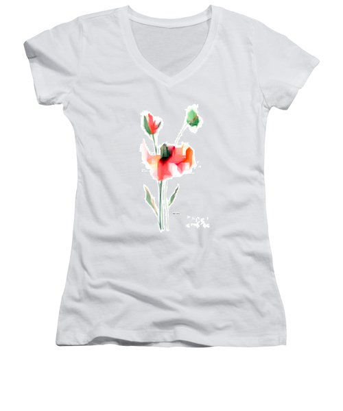 Red Flowers Women's V-Neck (Athletic Fit)