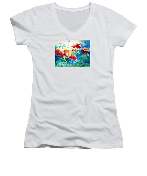 Women's V-Neck T-Shirt (Junior Cut) featuring the painting Red Hot Cool Blue by Kathy Braud
