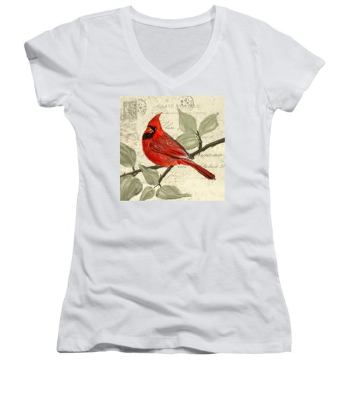 Red Melody Women's V-Neck T-Shirt