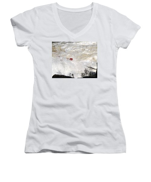 Women's V-Neck T-Shirt (Junior Cut) featuring the photograph Red Paddle by Carol Lynn Coronios