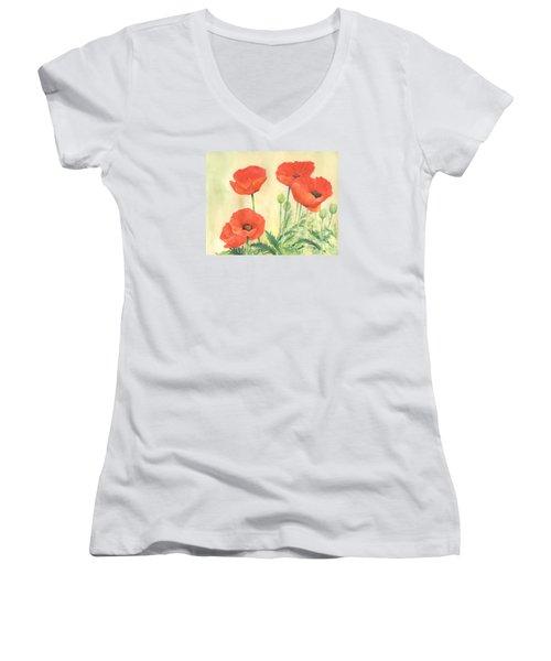 Red Poppies 3 Colorful Watercolor Poppy Floral Original Art Flowers Garden Artist K. Joann Russell Women's V-Neck T-Shirt (Junior Cut) by Elizabeth Sawyer