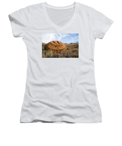 Red Rock Coulee I Women's V-Neck T-Shirt (Junior Cut) by Leanna Lomanski