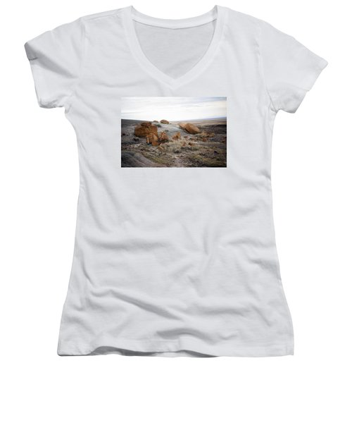 Red Rock Coulee II Women's V-Neck T-Shirt (Junior Cut) by Leanna Lomanski